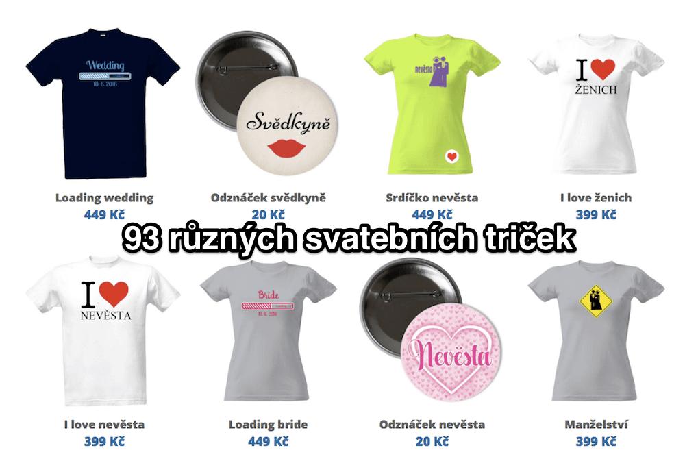 93 různých svatebních a rozlučkových triček