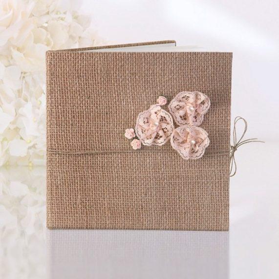 Svatební kniha 40 stran, přírodní juta, rozměr 20,5 x 20,5 cm
