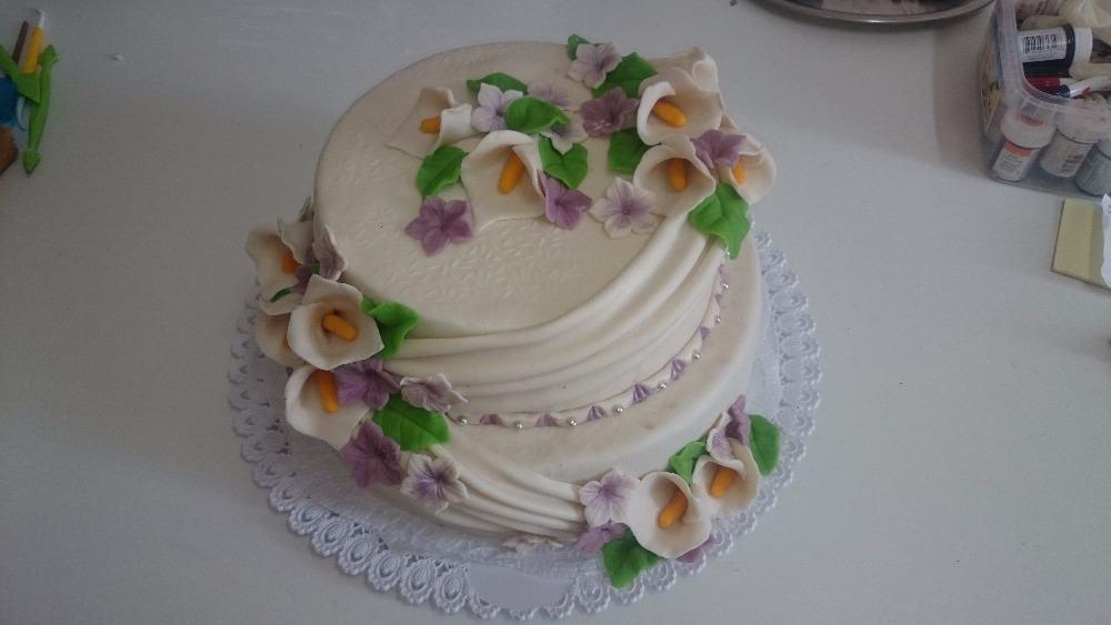 Svatební dort květinový - Růžová cukrárna
