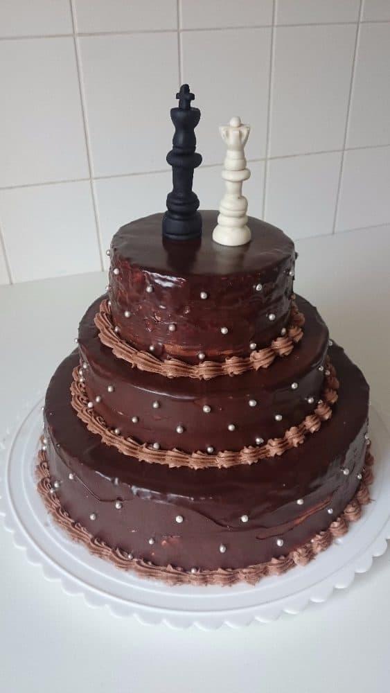 Svatební dort šachy - Růžová cukrárna