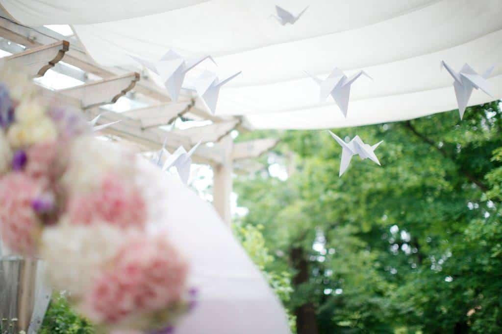 Svatební výzdoba párty stanu origami