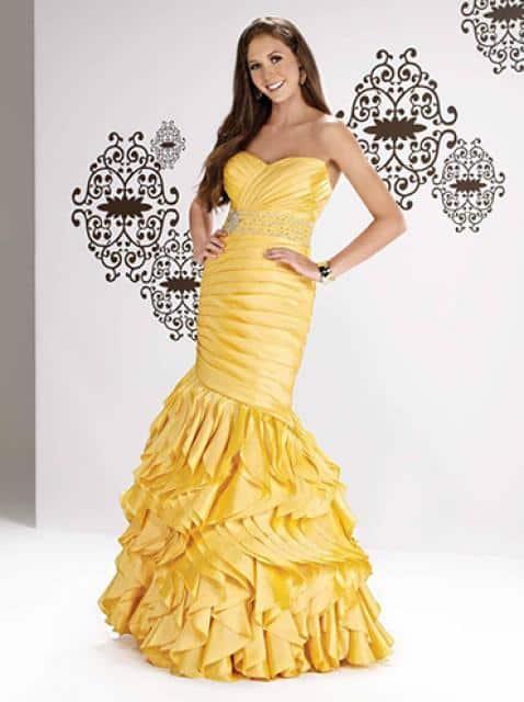 Svatba snů žluté šaty řasené