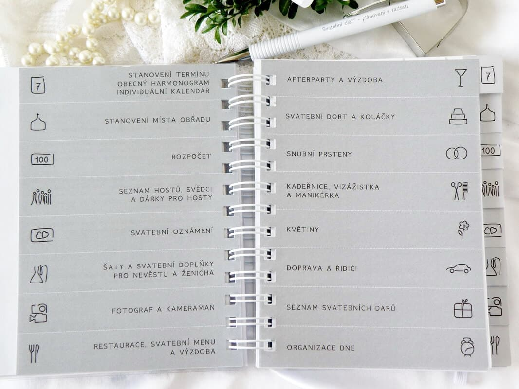 Svatební diář - záložky