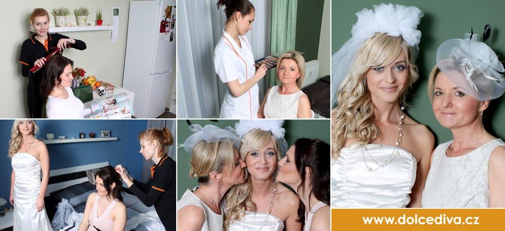 Příprava svatebčanů - mobilní salón krásy Dolce Diva Praha