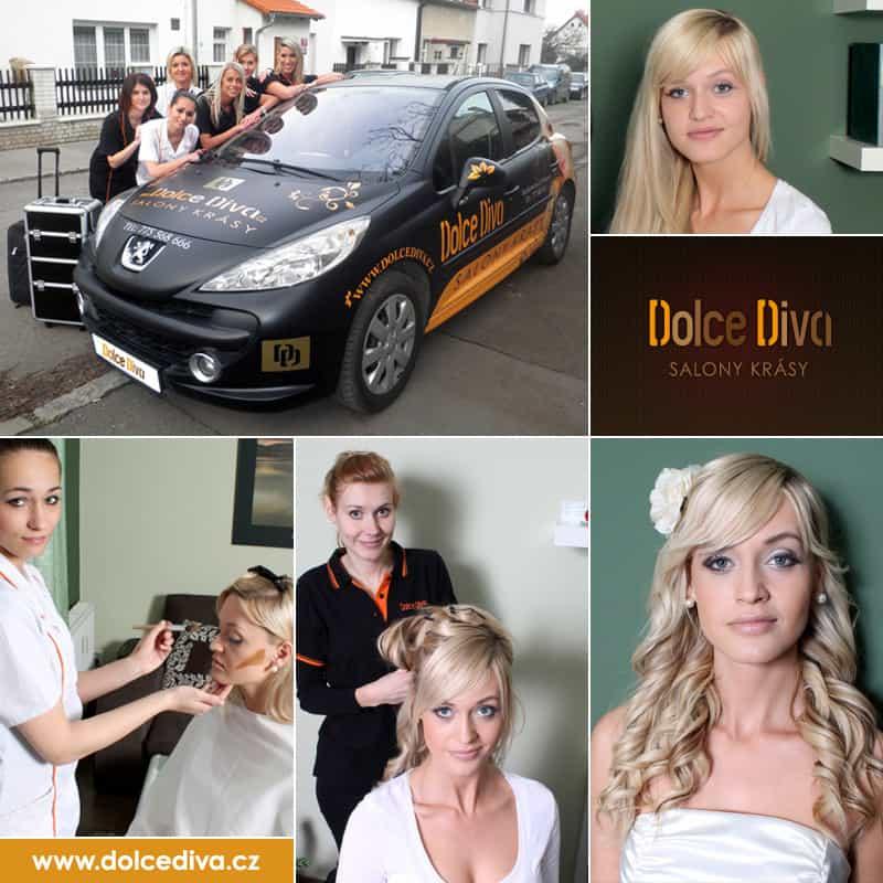 Svatební účes a líčení přím u vás doma - mobilní salón krásy Dolce Diva Praha