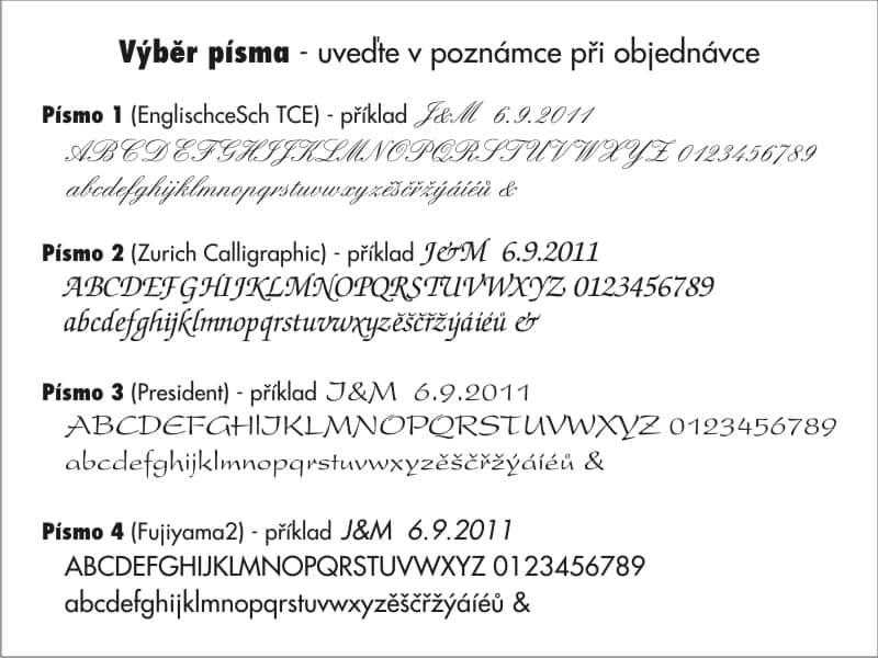 Typy písma na svatební děravou lžíci