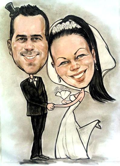 Svatební karikatura obraz