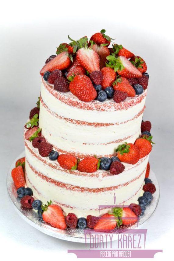 Dorty Kařez - svatební dort polonaháč, korpus red velvet, creme cheese