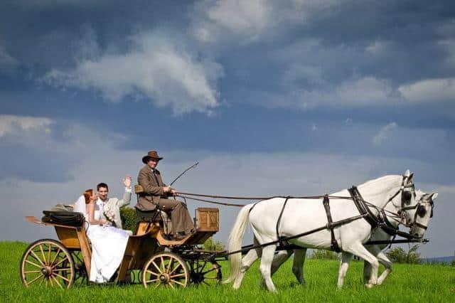 Barokní statek Benice s novomanžely a kočárem