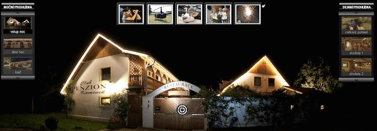 Penzion Kamínek - virtuální denní i noční prohlídka
