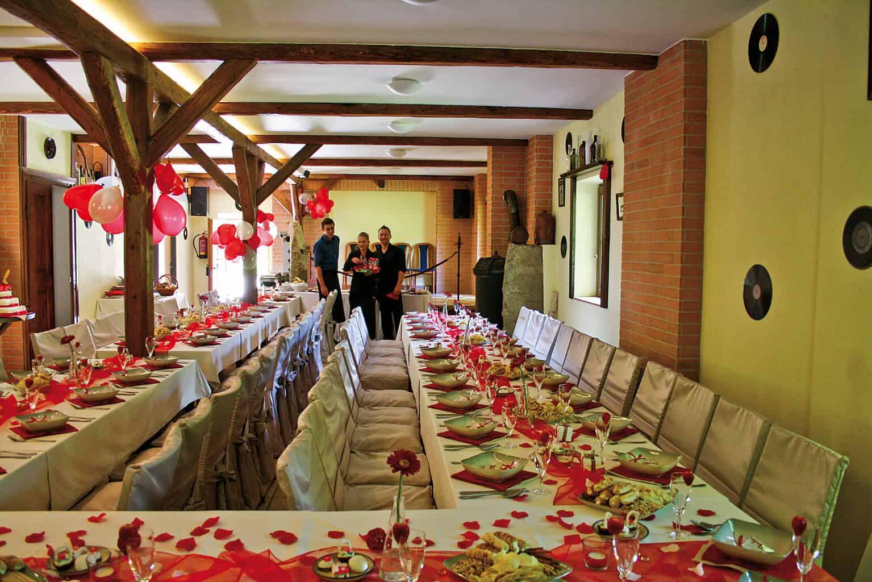 Penzion Kamínek svatební tabule uvnitř