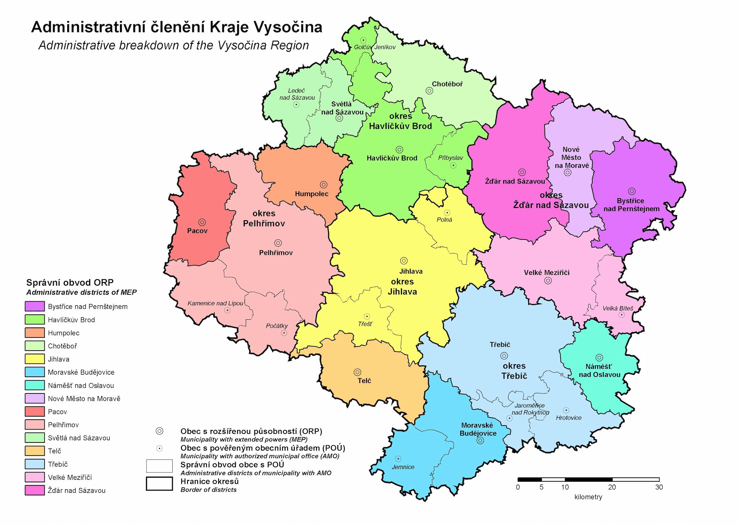Mapa kraje Vysočina