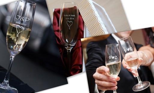 Svatební skleničky s gravírovanými jmény nebo s vaším textem