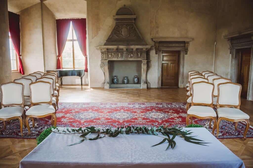 Zámek Nelahozeves svatební výzdoba
