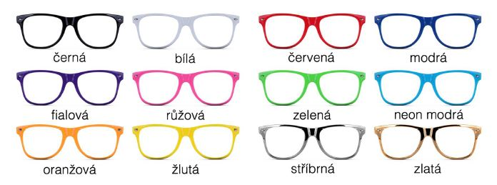 Paleta barev brýle s potiskem