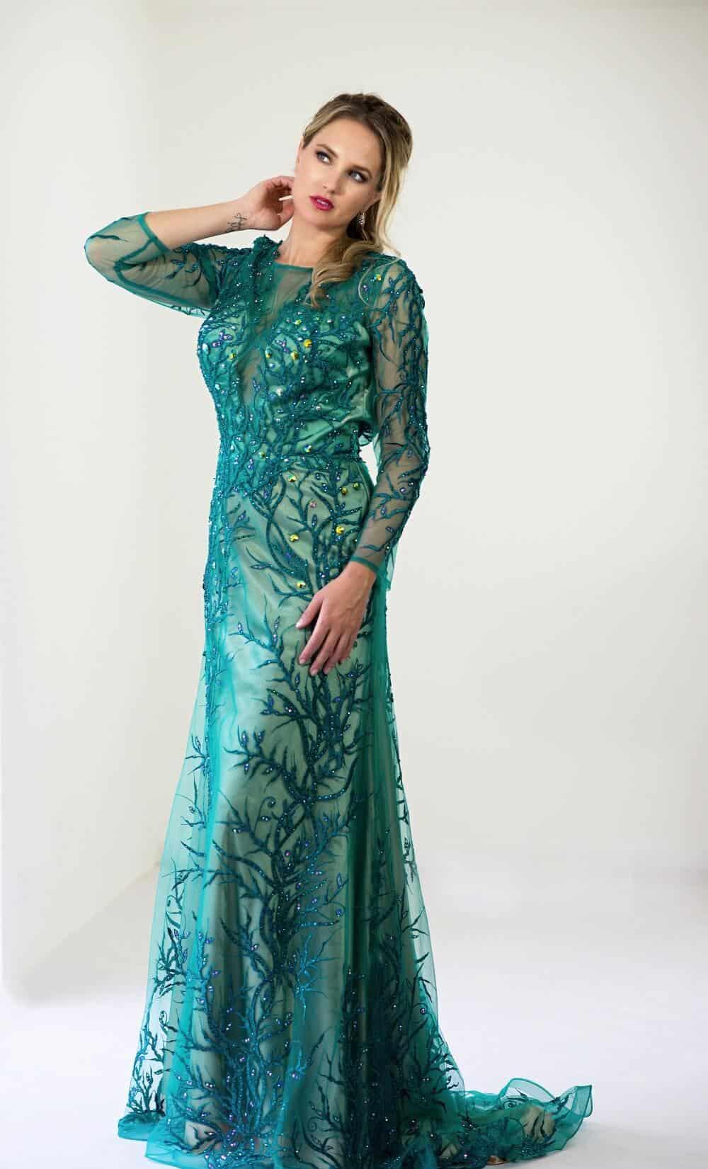 San Veritá - společenské šaty modrozelené