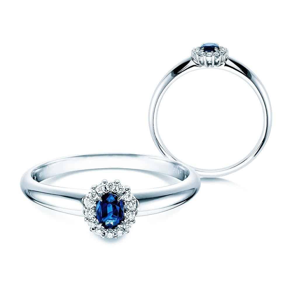 Halada zásnubní prsten s kamínkem modrým