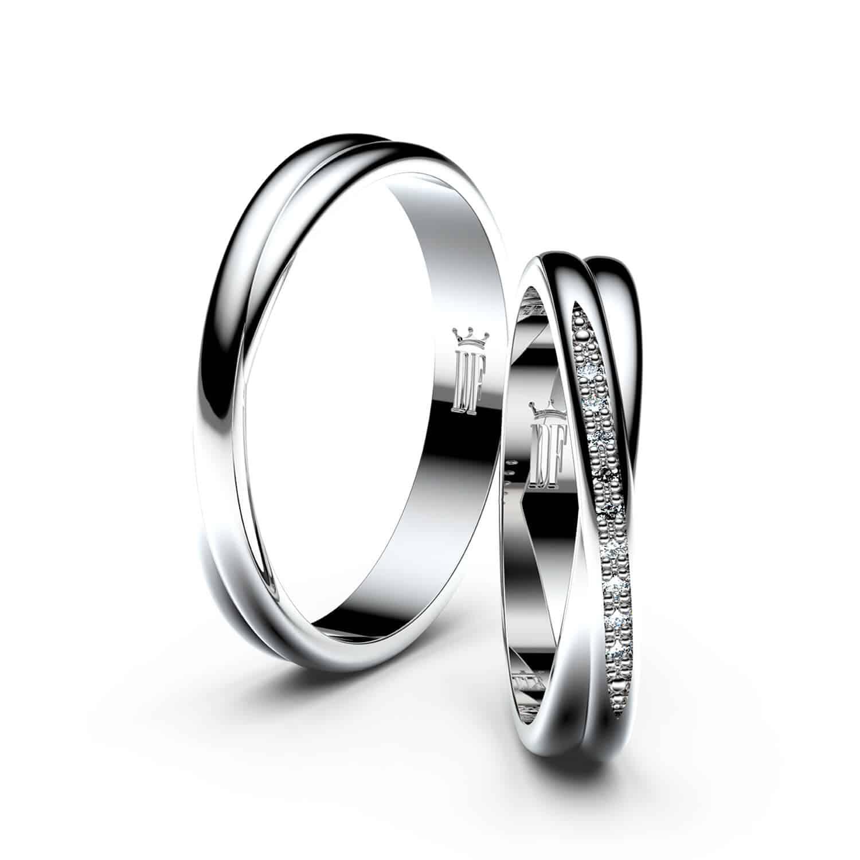 Snubní prsteny z bílého zlata - pár 3019