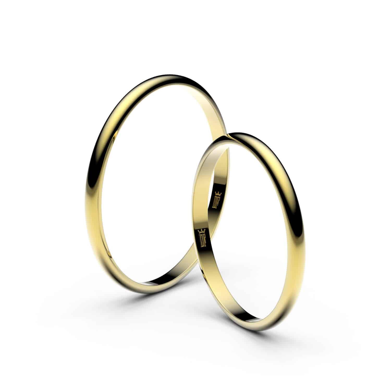 Snubní prsteny ze žlutého zlata 1,7 mm - půlkulatý pár 4i17