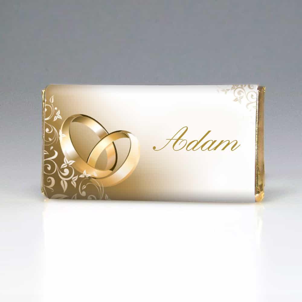 Svatební čokoládka jmenovka - Zlaté prsteny
