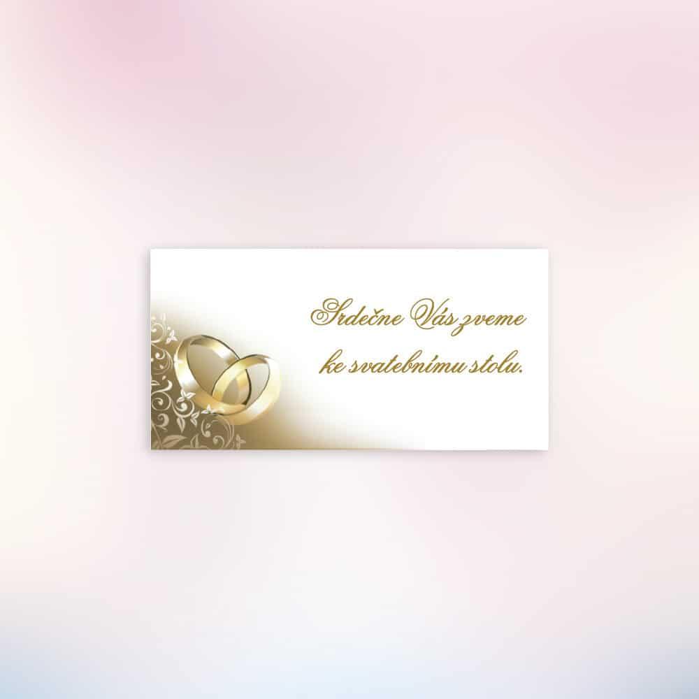 Svatební pozvánka ke stolu - Zlaté prsteny