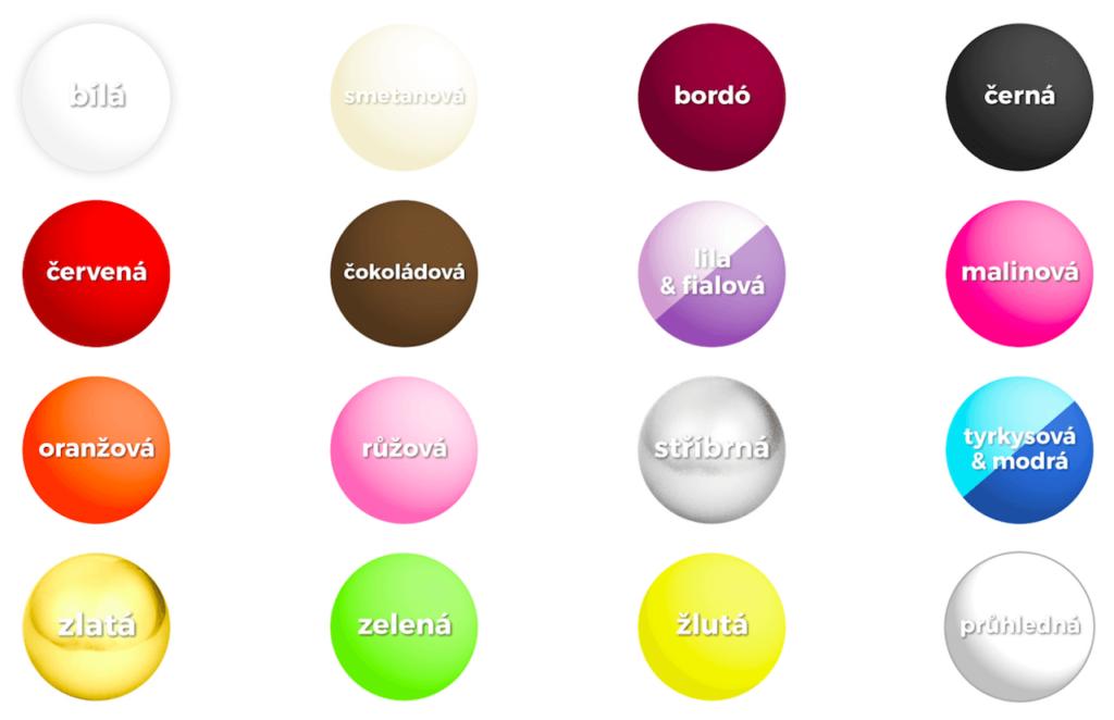 Výběr svatební barvy - paleta barev
