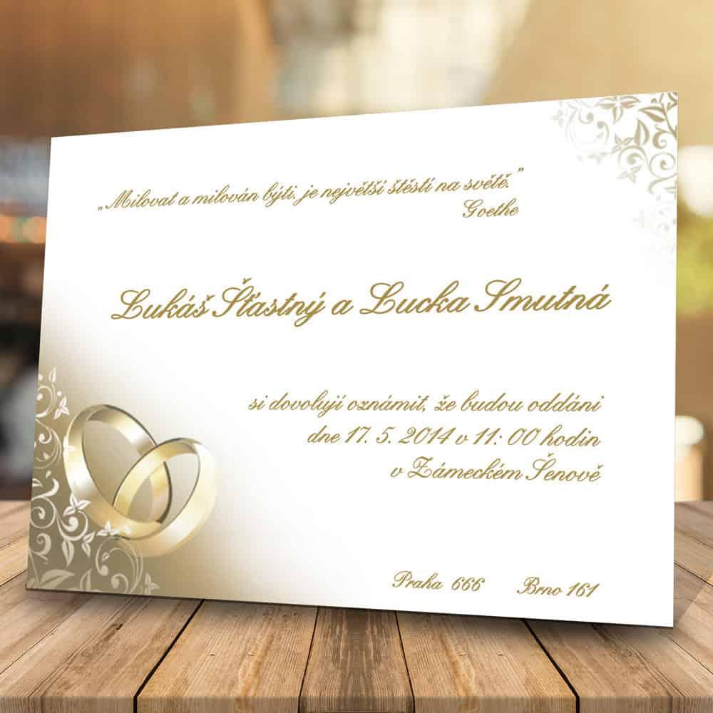 Svatební oznámení levně - Zlaté prsteny