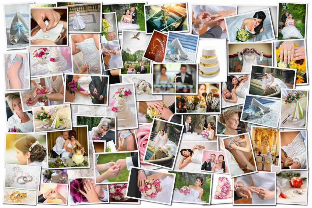 Svatební fotokoláž různých fotografií od A do Z