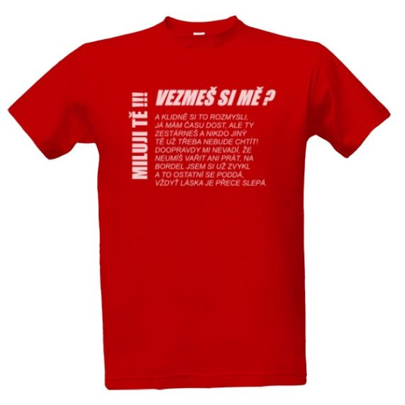 """Svatební tričko červené s nápisem """"vezmeš si mě?"""""""