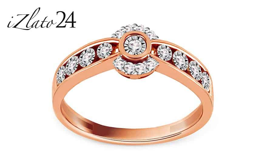 Briliantový zásnubní prsten z růžového zlata 0,120 ct