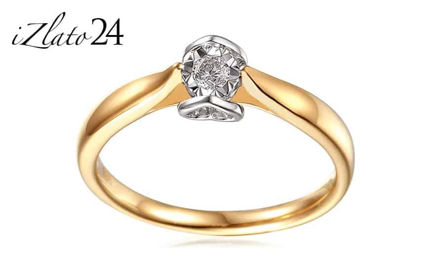 Zlatý diamantový zásnubní prsten 0,140 ct Layra 4