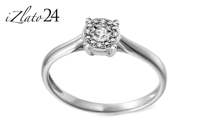 Zlatý zásnubní prsten s diamanty 0.030 ct Adalira