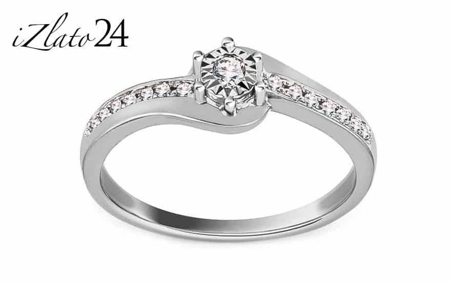 Zásnubní prsten z bílého zlata s diamanty 0,100 ct Ameline