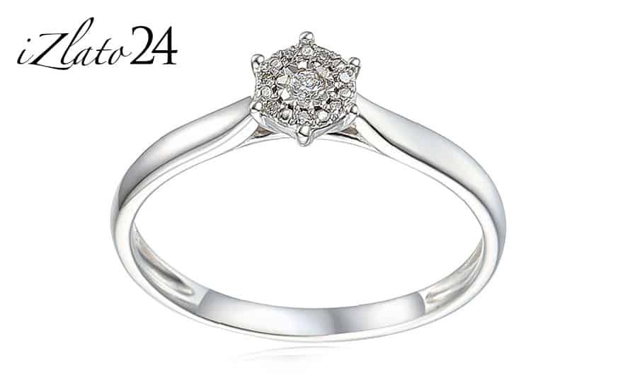 Zásnubní prsten z bílého zlata s diamanty 0,030 ct Lonna