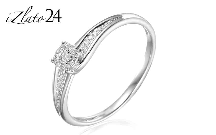 Zlatý zásnubní prsten s diamanty Lotte white