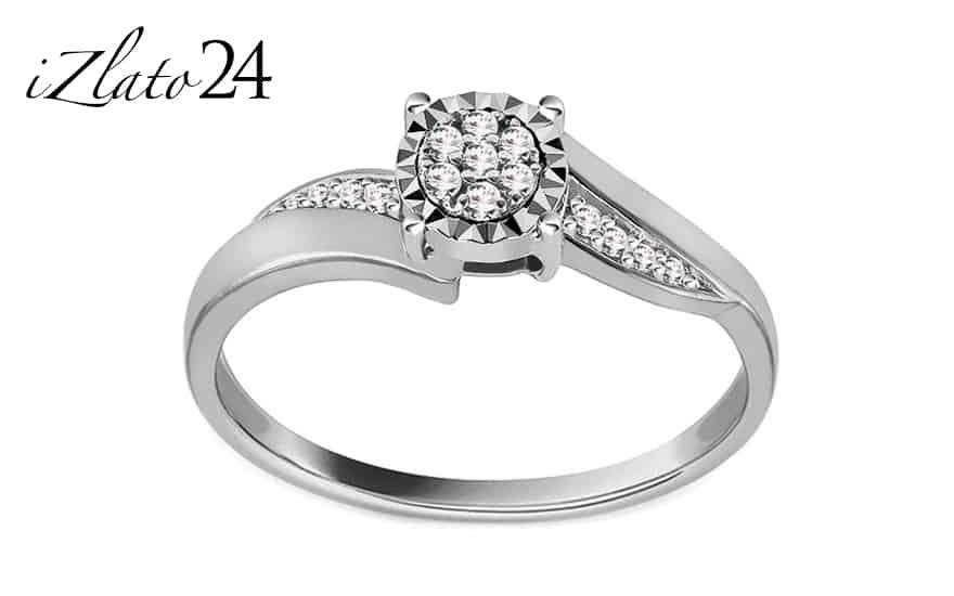 Zásnubní prsten z bílého zlata s diamanty 0,070 ct Maddie
