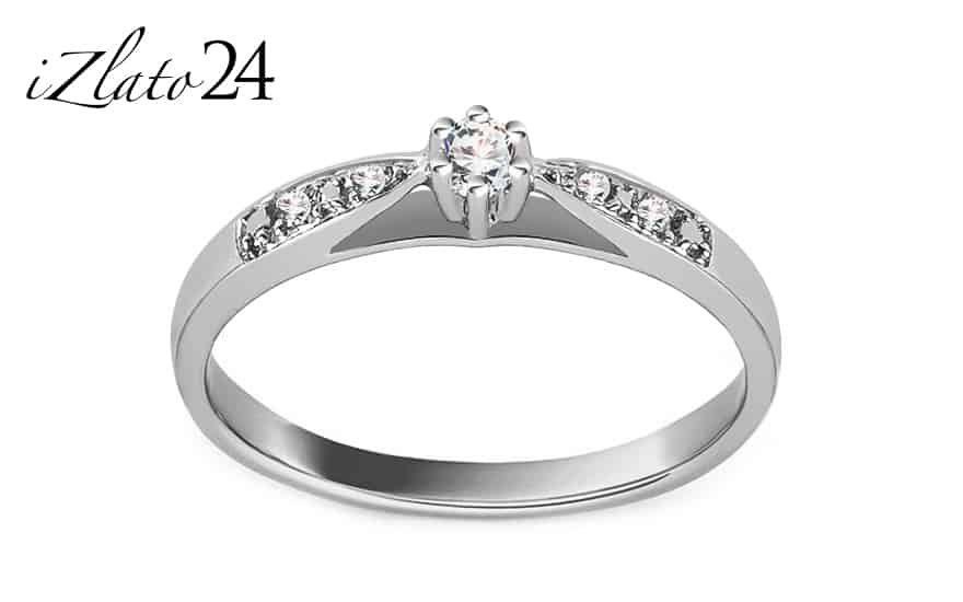 Zásnubní prsten z bílého zlata s diamanty 0,070 ct Odelia