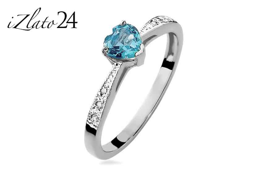 Zásnubní prsten s topasovým srdcem a diamanty Lailie white