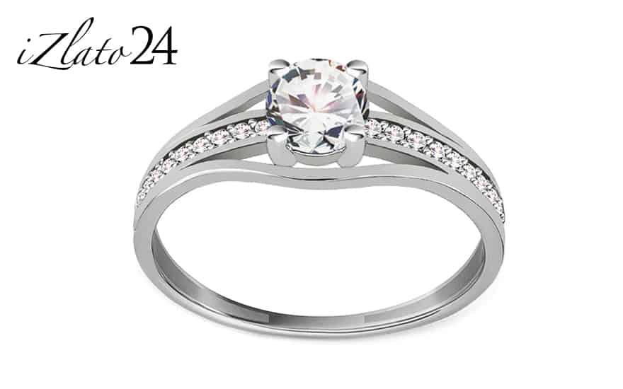 Zlatý zásnubní prsten se zirkony Abril white