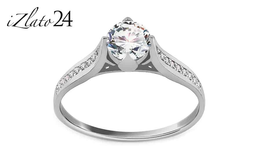 Zásnubní prsten z bílého zlata se zirkony Jelena