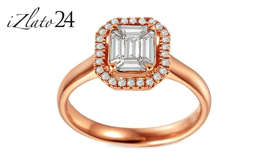 Zásnubní prsten z růžového zlata s bagguette diamanty 0,510 ct