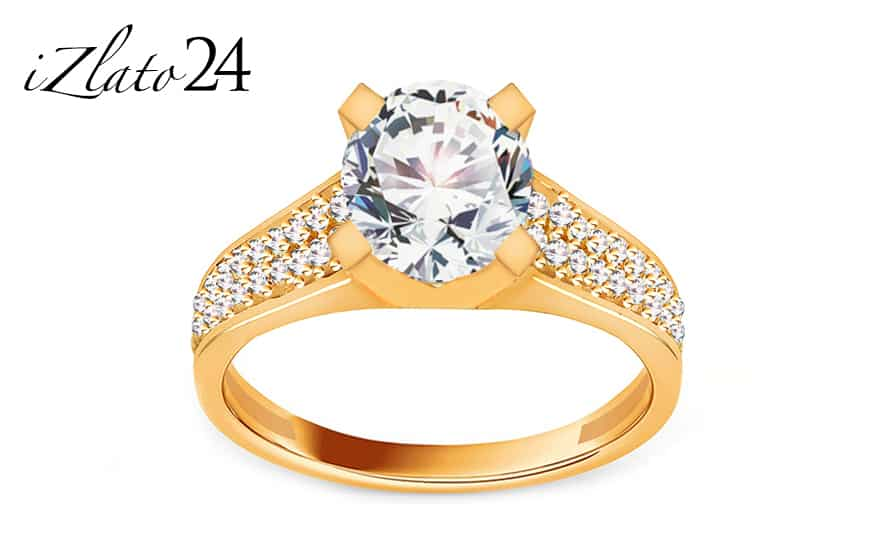 Zlatý zásnubní prsten se zirkony ze žlutého zlata
