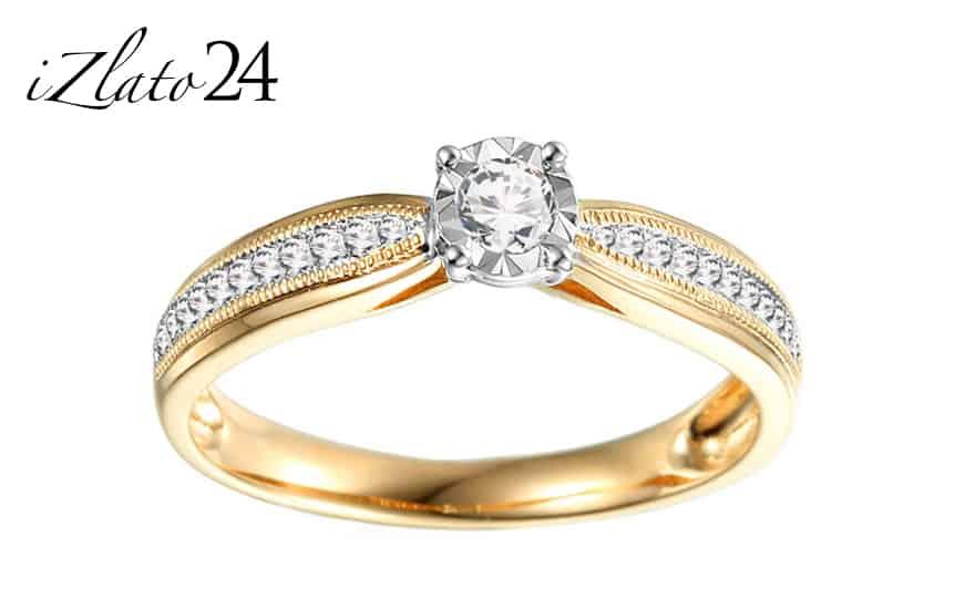Zlatý zásnubní prsten s diamanty Maya ze žlutého zlata