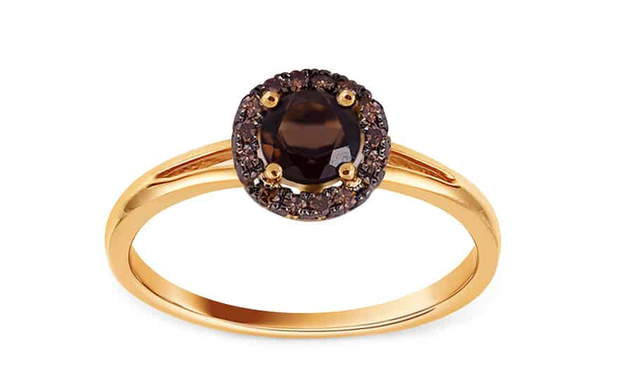Zásnubní prsten s 0,100 ct diamanty Brown dream a s kouřovým kvarcitem, model: KU254