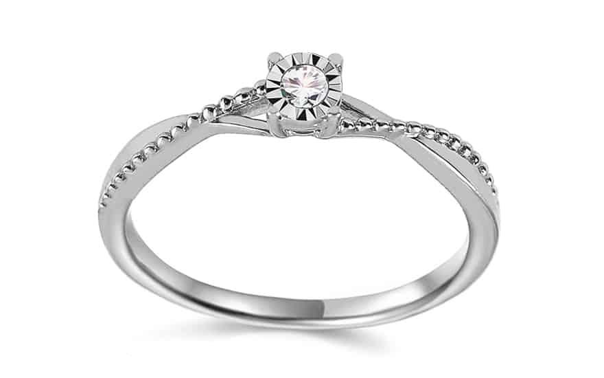 Zásnubní prsten z bílého zlata s diamanty 0.060 ct Freire