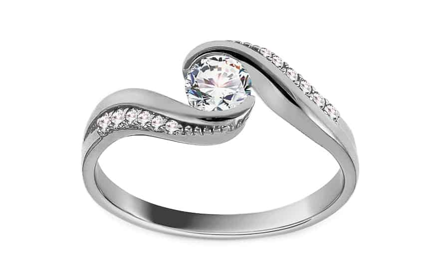 Zásnubní prsten z bílého zlata se zirkony Amari