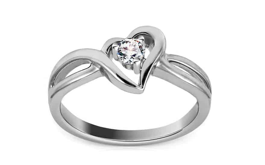 Zlatý diamantový zásnubní prsten se srdcem Jaclyn white
