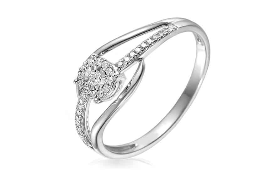 Zlatý zásnubní prsten s diamanty 0,120 ct Chasidy