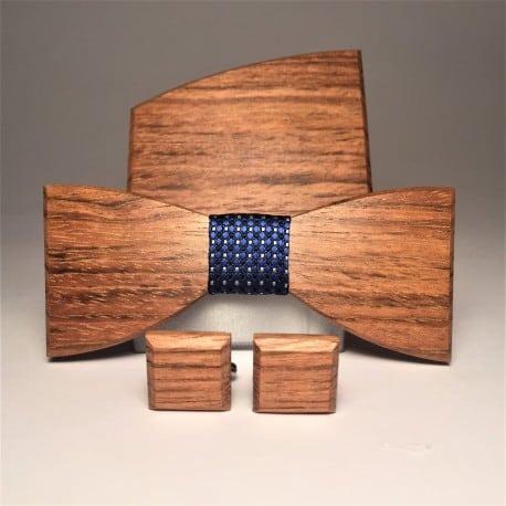 Dřevěný motýlek a manžetové knoflíčky pro ženicha i svědka