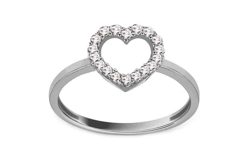 Prsten z bílého zlata srdíčko se zirkony, model: IZ12930A